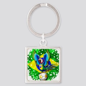 Brazil Macaw with Soccer Ball Keychains