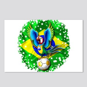 Brazil Macaw with Soccer Ball Postcards (Package o