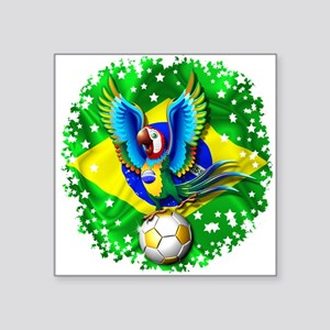 Brazil Macaw with Soccer Ball Sticker