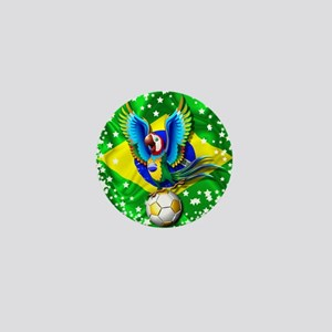 Brazil Macaw with Soccer Ball Mini Button
