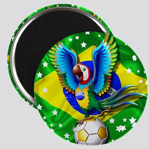 Brazil Macaw with Soccer Ball Magnets