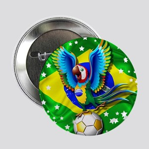 "Brazil Macaw with Soccer Ball 2.25"" Button"