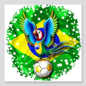 Brazil Macaw with Soccer Ball Square Car Magnet 3""