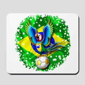 Brazil Macaw with Soccer Ball Mousepad
