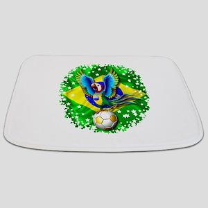Brazil Macaw with Soccer Ball Bathmat