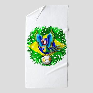 Brazil Macaw with Soccer Ball Beach Towel