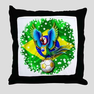 Brazil Macaw with Soccer Ball Throw Pillow