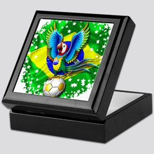 Brazil Macaw with Soccer Ball Keepsake Box