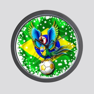 Brazil Macaw with Soccer Ball Wall Clock