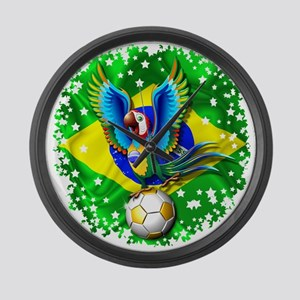 Brazil Macaw with Soccer Ball Large Wall Clock