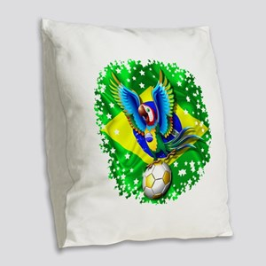Brazil Macaw with Soccer Ball Burlap Throw Pillow