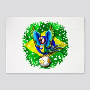 Brazil Macaw with Soccer Ball 5'x7'Area Rug