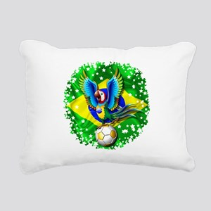 Brazil Macaw with Soccer Ball Rectangular Canvas P
