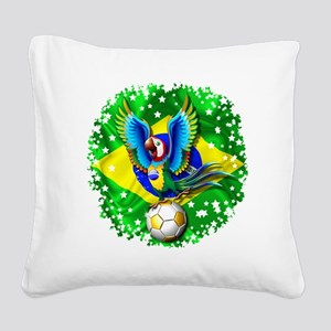 Brazil Macaw with Soccer Ball Square Canvas Pillow