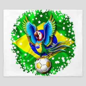 Brazil Macaw with Soccer Ball King Duvet