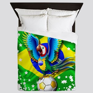 Brazil Macaw with Soccer Ball Queen Duvet