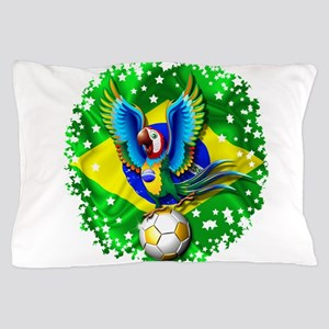 Brazil Macaw with Soccer Ball Pillow Case
