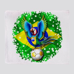 Brazil Macaw with Soccer Ball Throw Blanket