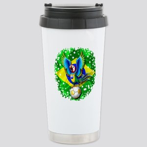 Brazil Macaw with Soccer Ball Travel Mug
