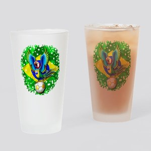 Brazil Macaw with Soccer Ball Drinking Glass