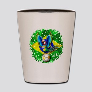 Brazil Macaw with Soccer Ball Shot Glass