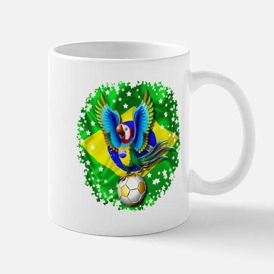 Brazil Macaw with Soccer Ball Mugs