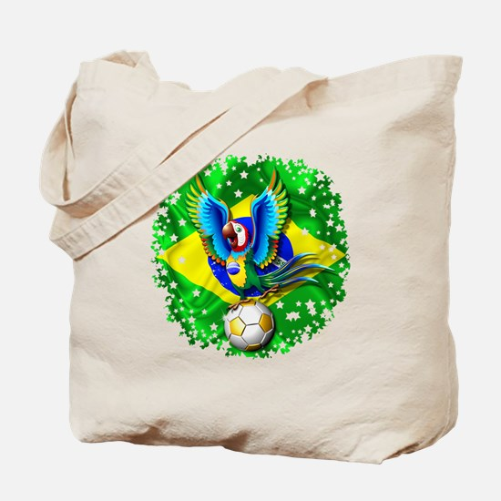 Brazil Macaw with Soccer Ball Tote Bag