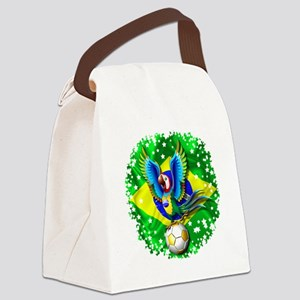 Brazil Macaw with Soccer Ball Canvas Lunch Bag
