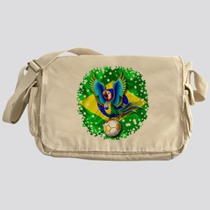 Brazil Macaw with Soccer Ball Messenger Bag