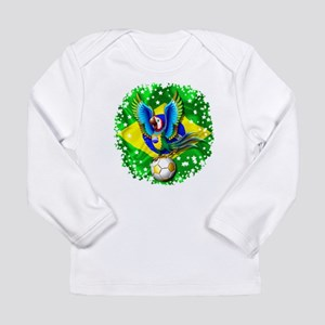 Brazil Macaw with Soccer Ball Long Sleeve T-Shirt