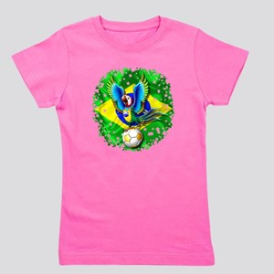 Brazil Macaw with Soccer Ball Girl's Tee