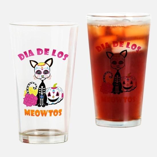 Dia De Los Meowtos Drinking Glass