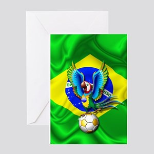 Brazil Macaw with Soccer Ball Greeting Cards