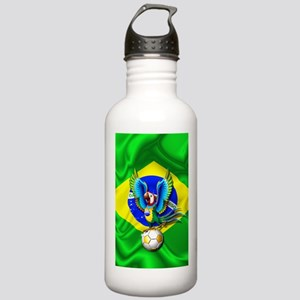 Brazil Macaw with Soccer Ball Water Bottle