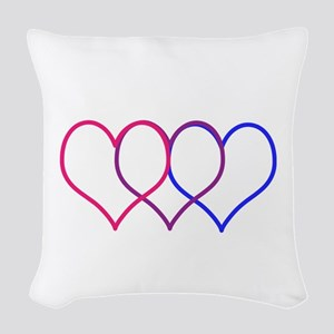 Bisexual Hearts Woven Throw Pillow