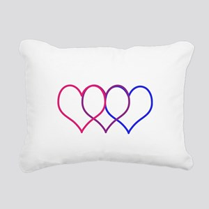 Bisexual Hearts Rectangular Canvas Pillow