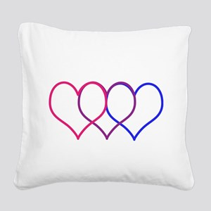 Bisexual Hearts Square Canvas Pillow