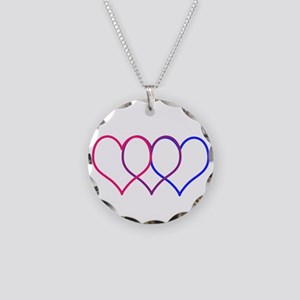 Bisexual Hearts Necklace Circle Charm