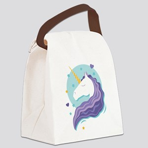 Purple-Maned Unicorn Canvas Lunch Bag