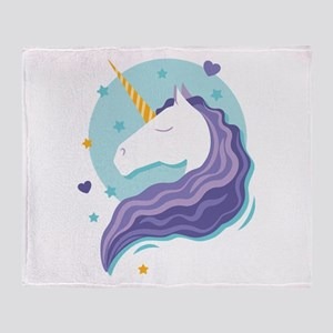 Purple-Maned Unicorn Throw Blanket