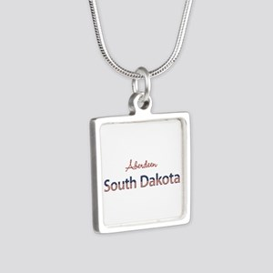 Custom South Dakota Silver Square Necklace
