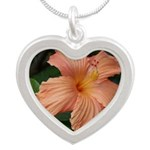 Hibiscus Silver Heart Necklace