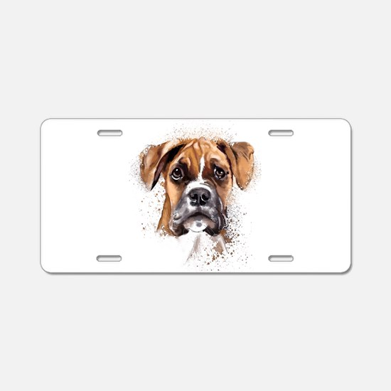 Boxer Painting Aluminum License Plate