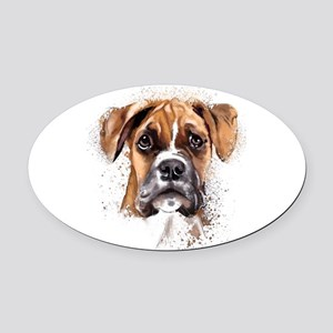 Boxer Painting Oval Car Magnet