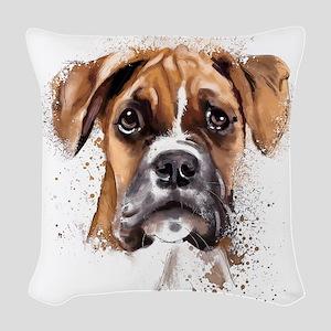 Boxer Painting Woven Throw Pillow