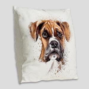 Boxer Painting Burlap Throw Pillow