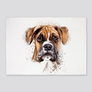 Boxer Painting 5'x7'Area Rug