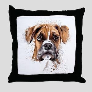 Boxer Painting Throw Pillow
