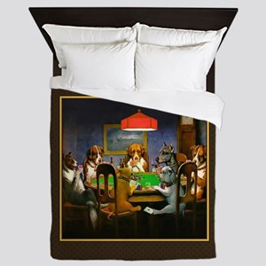 Poker Dogs Friend (brown Border) Queen Duvet