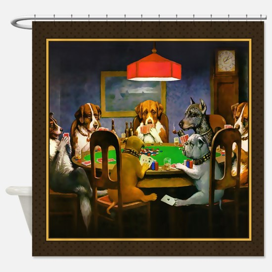 Poker Dogs Friend (brown Border) Shower Curtain